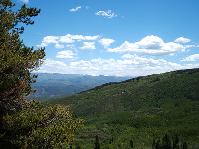 The distant snowcapped peaks of the Sawatch Range.