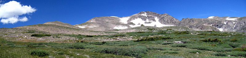 Mt Bancroft.  Ascent route follows ridge on the right, descent follows the gentle ridge on the left.