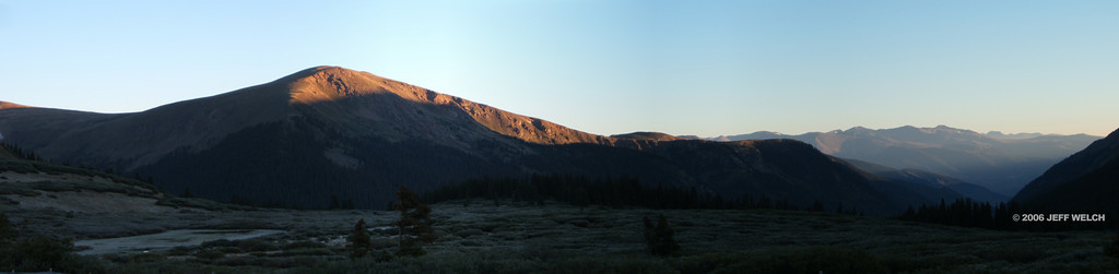 I started my hike up Mt. Bierstadt early - intentionally, because I wanted to see the alpenglow.  This is looking northwest from the parking lot at the top of Guanella Pass at 11,669' (just a tick above timberline).