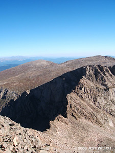 North from Bierstadt's summit is The Sawtooth.  You can traverse this ridge to get to Evans (class 3).