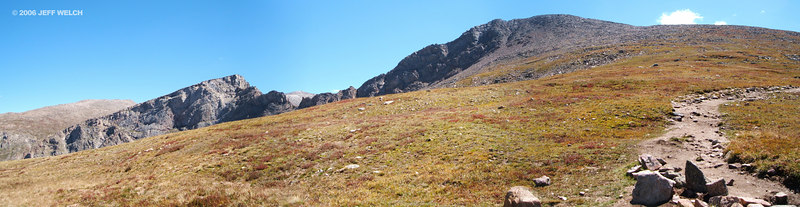 Bierstadt, The Sawtooth, and a section of trail at about 13,000'.