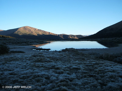 An unnamed lake at Guanella Pass.  It was about 28 degrees when I started hiking at 6:45am, so the tundra was all frozen over.