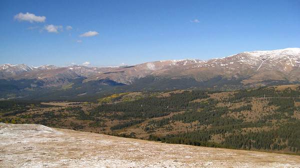 From the first high point, the view southwest (towards Mt. Sherman, Gemini Peaks, etc.)