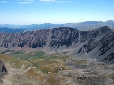 Looking down into Stevens Gulch (the standard way to climb Grays and Torreys).