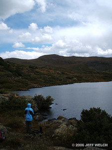 My mom checking out the second lake (I think).  There's seven Highland Mary lakes total, so it's hard to keep track.