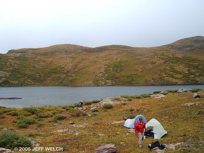 We found an awesome place between the second and third lakes.  Secluded from the trail, sheltered from the wind, great scenery.  Elevation was about 12,100'.