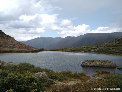 Looking back at the first lake.  We saw one party of four on their way out as we hiked up, but that was it on Thurs.