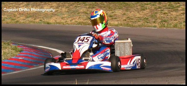 Greg practicing at The Track at Centennial in a 125cc ICC shifterkart. Photo by Captain Drifto.