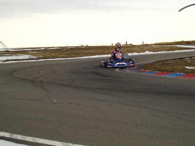 The first test day of the year at The Track @ Centennial.  Three drivers, five karts.  Three of the karts were prototypes. Greg in the new DD2.
