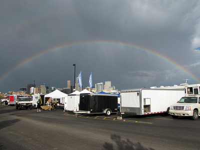 Saturday evening, it rained, then we were treated to this rainbow above our pit area.