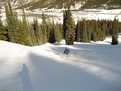 Me tele skiing at Copper on a hardpacked but bluebird day.