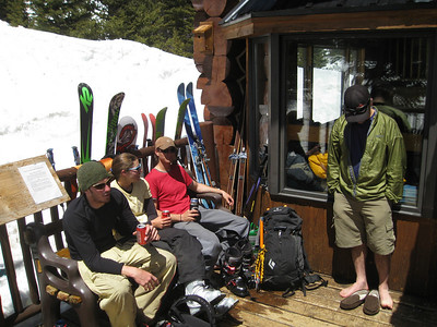 After a fun ski descent, which I did not take any pictures of, we relaxed at the hut and had beers.  Zac, Lindsey, and Dobish stake out a bench, with Dan (the trip's organizer) staring at his feet.