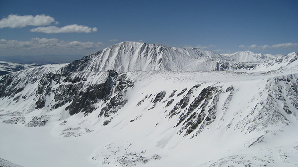 The summit of Crystal offered stunning views.  We watched a series of natural avalanches run on the steep slopes in the foreground.  The large face in the background is the north face of Quandary, one of Colorado's 14ers.