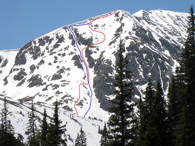 A closer look at our lines. The red is my line.  Larry and Leigh skied the same thing, except they went slightly skier's left of me where we exited the couloir. The blue is Dave's line - the couloir from the top.  Lacy skied the top section too, but he used the same exit I did.