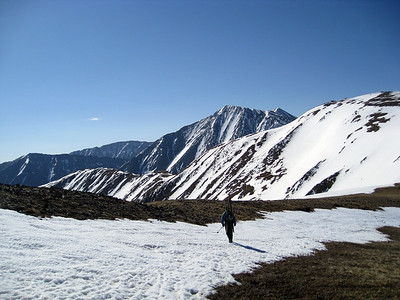 Lacy on the ridge, with Torreys high in the background.  The two prominent lines from the summit are the Tuning Forks.