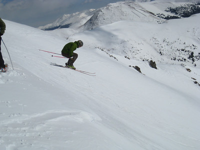 On Sunday, we hit Velvet Hammer for some cornice hucks.  Rob launching.
