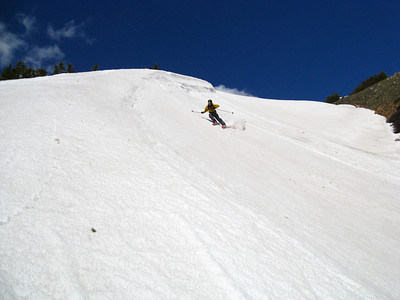 Adam skiing aggressively, in an alpine style.