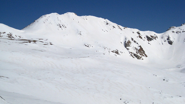 A closer look at our ski descent.  We skied the big face right off the summit.