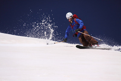 Having hauled his big DSLR up with him, Dave got some amazing photos of me skiing down. Photo: D.Bahr