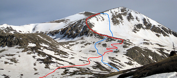 Our lines.  Red is ascent, blue is descent.  I think that despite having to bail, we still got between 1500' and 1700' of skiing in.