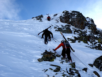 Our last climb involved a very steep bootpack up towards the Billboard. Photo: E.Cornell
