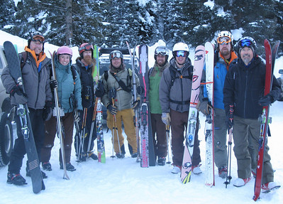 The crew, all tele skiers, and all with big skis.  From L->R: Kevin, Emilie, Nate, Lacy, me, Doug, Greg, and Larry.