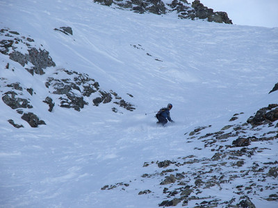 We skied the Pope Chute and the Dope Chute,  Here's Nate in the Pope. Photo: E.Cornell