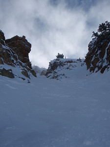 Looking up Baldy's Little Chute (on the Alta side, we skied it then sidestepped/traversed back to Snowbird). Photo: T.Baitto