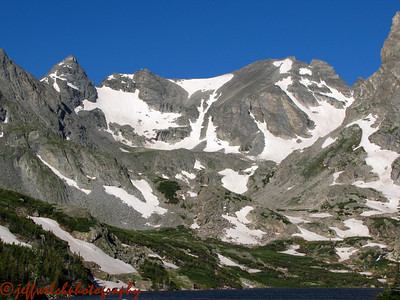 A closer view.  Navajo is the cone on the left, Navajo Snowfield starts from the saddle just right, Apache Couloir is in the center, Apache Peak is the summit right of center, and Queen's Way is the diagonal couloir that no longer extends to the upper snowfield.