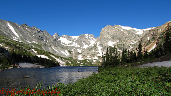 Lake Isabelle.  Our destination is the skinny line right smack dab in the center of the photo.