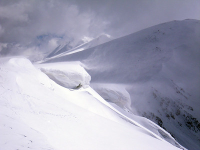 A cool photo of the cornices threatening the east face of Mines. Photo: A.Schenck