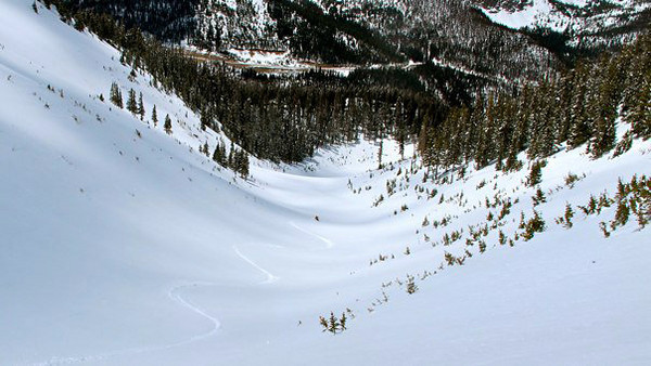 Brian tracking out the egress path.  Obviously, some massive avalanches have used this egress path in the past. Photo: L.Hall