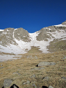 At the base of the couloir.