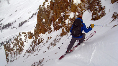 Our chosen line dropped us into Queen Basin, on the opposite side of the ridge we climbed (ie, away from town).  Adam commits to the exposed opening moves.
