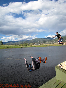 Another tandem huck - Kim with the invert, Mike with the video camera.