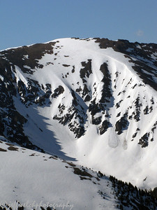 Then we drove to the top of Loveland Pass, where your starting elevation is 12,000'.  To reach the summit of Grizzly is a couple miles of hiking and some ups and downs in elevation to eventually reach the 13,427' summit.  This photo is of Marjorie Bowl near A-Basin.