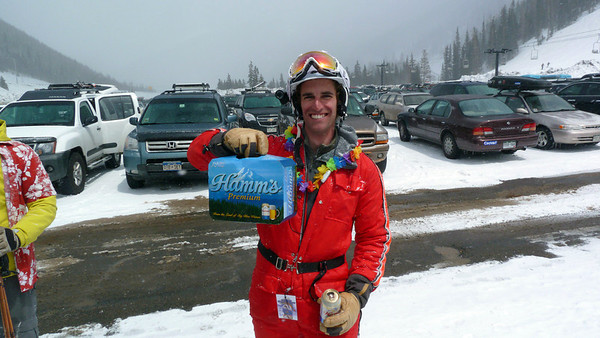 Me displaying my prize after successfully completing the Hamms 12-pack Challenge (only the second person to do so).