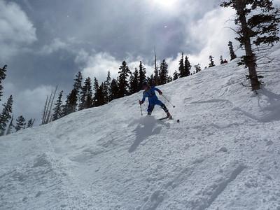 Has had an excellent snowplow technique on the 222cm Buzzards.