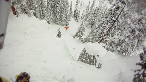 Late February, Crested Butte.  POV frame grab of Rob exiting Bodybag.