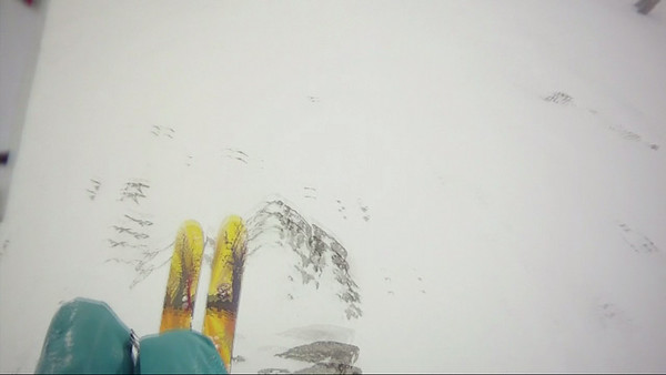 Late February, Crested Butte.  Frame grab from POV, lauching the exit air on Angle Gully, Headwall.