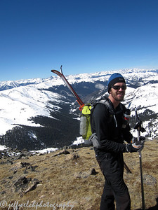 Reilly is training for the Elk Mountains Grand Traverse, a brutal sounding 40 mile backcountry ski race from Crested Butte to Aspen.  So, he was on his silly randonee race gear, which made for a pretty funny contrast between my heavy, burly tele rig.