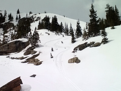 Bonus turns in lower McCullough Gulch.  By this time, the snow at the lower elevations was very wet and sticky.