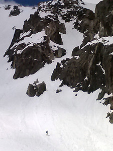 Me in the apron below the couloir.  The bottom part of our line can be seen angling up and right, but the top 2/3 is hidden.
