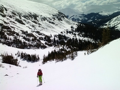 Vela skinning out of lower McCullough Gulch.
