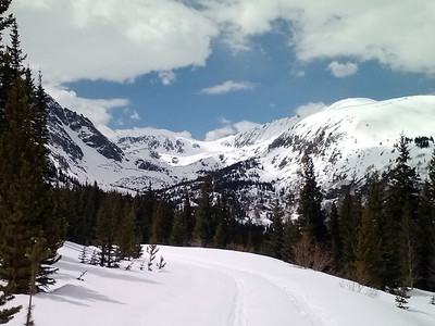 A look back at the beautiful McCullough Gulch.  Great ski.