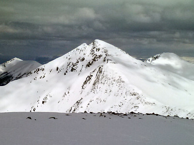 The SW face of Pacific Peak.  The amount of snow on every high elevation aspect right now is incredible.