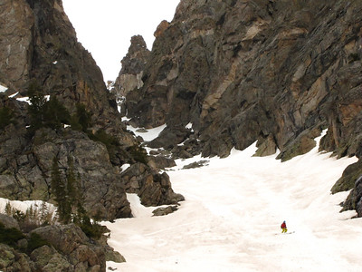 Me in the lower 1/3 of the couloir.  Photo: M. Records