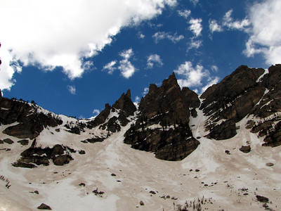 At Emerald Lake, looking up at Flattop's south buttress.  Dead Elk is the couloir on the left and Dragonstail is the couloir on the right.  We elected to boot directly up the couloir so that we could assess the difficulty of the crux downclimb before committing to the line.