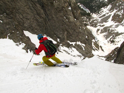 I drop in just below the downclimb.  Photo: M. Records