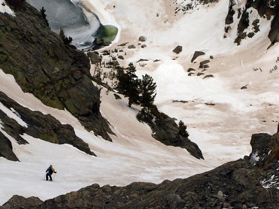 Mike in the easy, fun, open lower couloir.